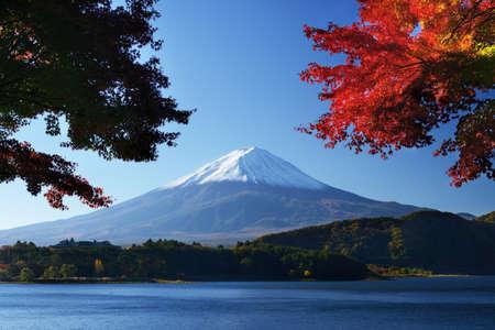 kawaguchi ko: Mount Fuji at dusk near Lake Kawaguchi in Yamanashi Prefecture, Japan.