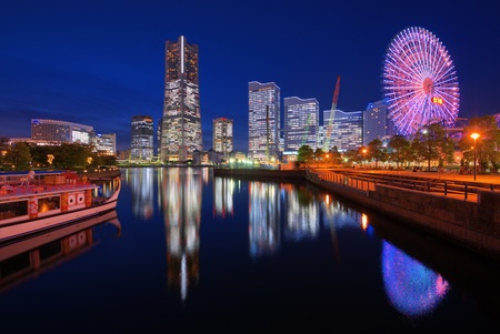 Skyline of Yokohama, Japan at Minato-mirai bay. photo