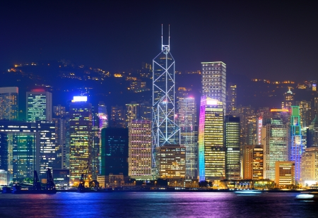 hong kong night: Cityscape of Hong Kong Island from Victoria Peak. Stock Photo