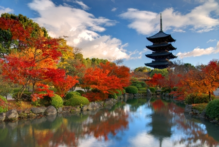 kyoto: The wooden tower of To-ji Temple in Nara Japan is the largest tower in the country at a height of 54.8 meters.