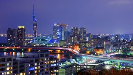 Cityscape of Fukuoka, Japan.