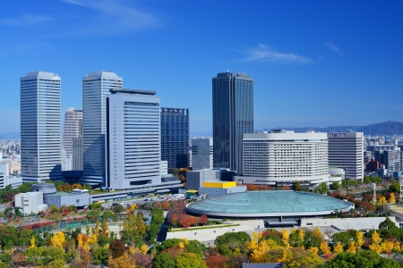 osaka: Business Park skyline in the Autumn of Osaka, Japan viewed from Osaka Castle Park.