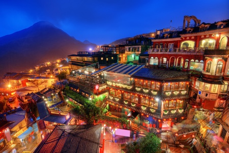 taipei: Jiufen, Taiwan hillside with old teahouses at dusk.