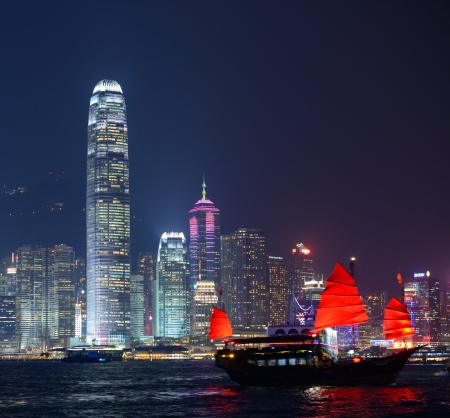 hong kong night: Hong Kong at night from across Victoria Harbor