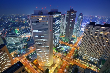 Financial buildings in the Shinjuku district of Tokyo, Japan.