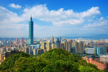 Taipei, Taiwan skyline viewed during the day from Elephant Mountain.