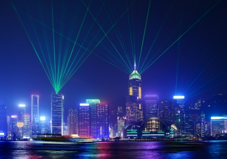 laser show: Hong Kong at night from across Victoria Harbor