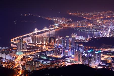 south korea: Skyline of Busan, South Korea at night