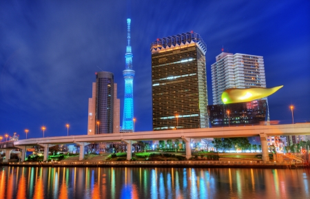 Landmark buildings line the Sumida River at Asakusa in Tokyo, Japan