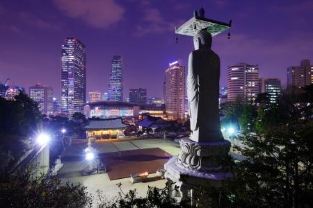 south korea: Bongeunsa Temple in the Gangnam District of Seoul, Korea.