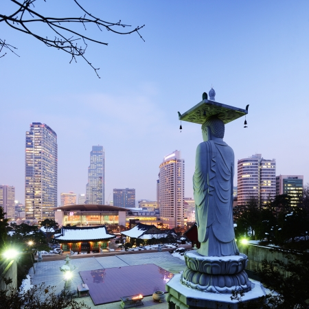Bongeunsa Temple in the Gangnam District of Seoul, Korea