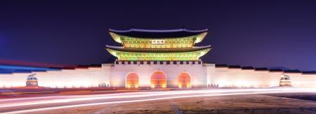 main gate: Gwanghwamun Gate is the main gate of  Gyeongbokgung Palace in Seoul, South Korea