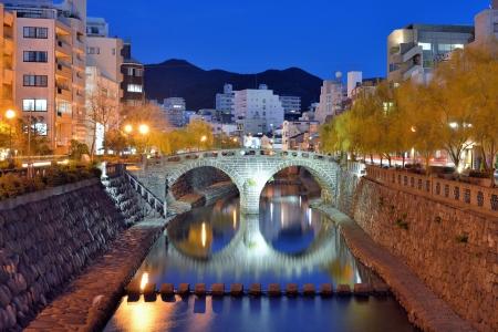 nagasaki: Megane  Spectacles  Bridge in Nagasaki, Japan originally dates from 1634  Stock Photo
