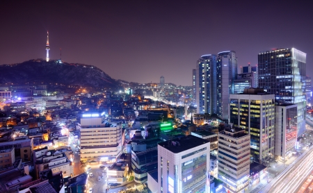 south korea: View of Seoul from Myeong-dong with Seoul Tower Visible  Editorial