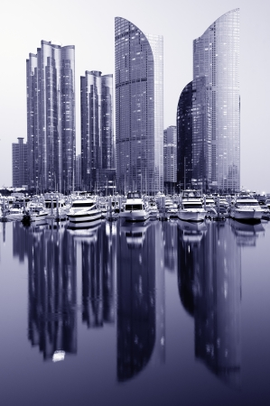 Modern cityscape of Busan, South Korea. photo