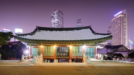 Bongeunsa Temple grounds in the Gangnam District of Seoul, South Korea. Imagens
