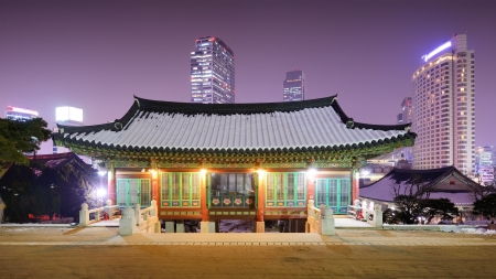 bongeunsa: Bongeunsa Temple grounds in the Gangnam District of Seoul, South Korea. Stock Photo