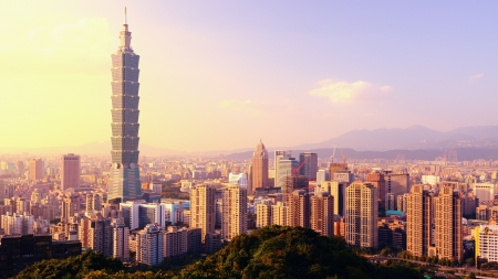 Taipei, Taiwan evening skyline. photo