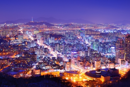 south korea: Downtown cityscape of Seoul, South Korea
