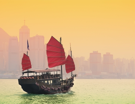 kong river: Sailing in Victoria Harbor in Hong Kong. Stock Photo