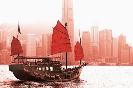 victoria harbor: Sailing in Victoria Harbor in Hong Kong. Stock Photo