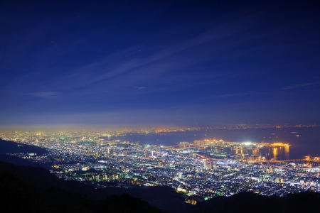 nishinomiya: View of several Japanese cities in the Kansai region from Mt. Maya. The view is designated a Ten Million Dollar Night View.