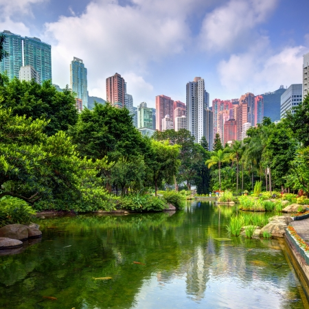 Pond and lanscape of Hong Kong Park photo