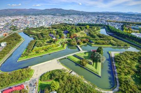 Goryokaku Park in Hakodate, Hokkaido, Japan was originally a star fort designed in 1855. photo