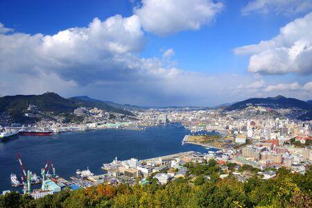 Gezicht op de baai van Nagasaki, Japan. Stockfoto