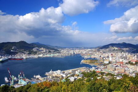 View of Nagasaki Bay, Japan. Stock Photo