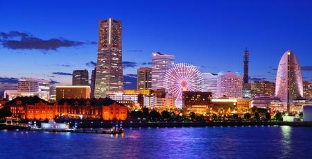 Skyline van Yokohama, Japan Minato Mirai-baai. Stockfoto