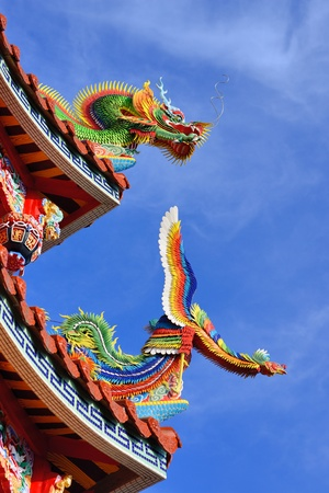 Temple rooftop detail at Bishan Temple in Neihu District, Taipei, Taiwan. photo
