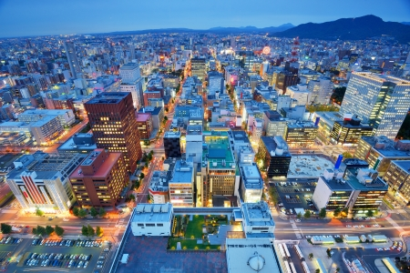 sapporo: Skyline of downtown Sapporo, Japan.
