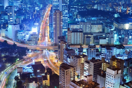 Highways and city in Tokyo, Japan