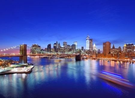 Lower Manhattan from above the East River in New York City. Stock Photo - 19225718