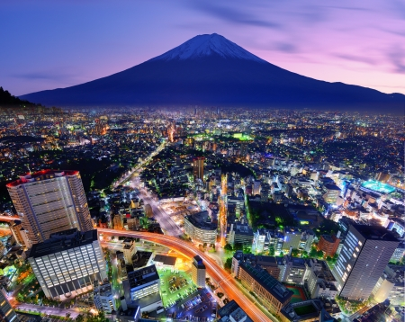 japan sunset: Ueno District and Mt. Fuji in Tokyo, Japan.