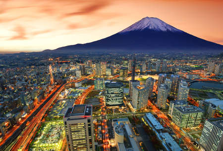 tokyo city: View of Yokohama and Mt. Fuji in Japan.