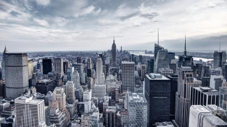 panorama city panorama: Panorama de la ciudad de Nueva York, en Midtown Manhattan. Baja saturaci�n de color.