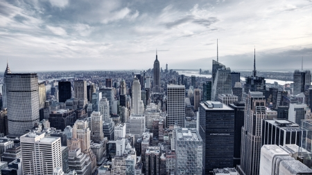 panoramic business: Panorama of New York City in Midtown Manhattan. Low color saturation.