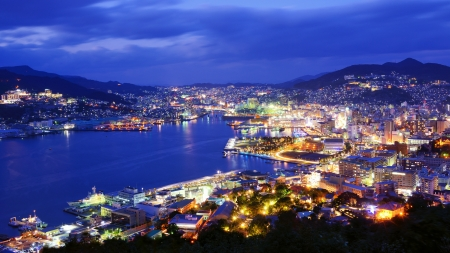 nagasaki: Skyline of the bay of Nagasaki, Japan. Stock Photo