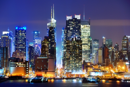 Lower Manhattan from across the Hudson River in New York City. Stock Photo
