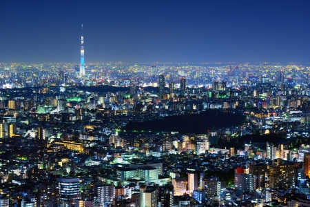 visible: Tokyo Cityscape with Tokyo Sky Tree visible Stock Photo
