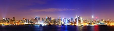 pano: New York city famed skyline at Midtown Manhattan