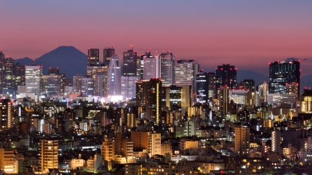 visible: Skyline of Shinjuku, Tokyo, Japan with Mt. Fuji visible Stock Photo