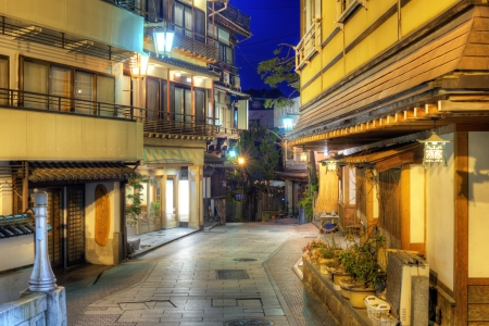 hot springs: Shibu Onsen, a hot springs resort town in Nagano, Japan. Stock Photo