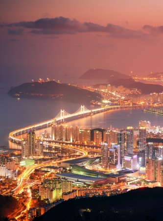 destination scenic: Skyline of Busan, South Korea at night.