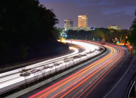expressway: Greenville, South Carolina skyline above the flow of traffic on Interstate 385.