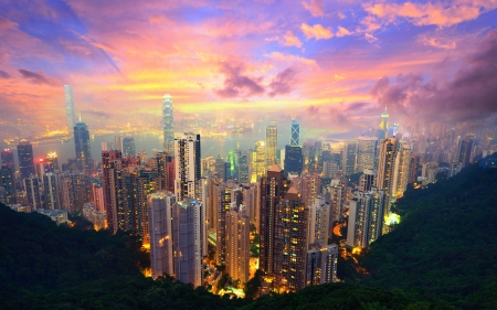 Famed skyline of Hong Kong from Victoria Peak photo