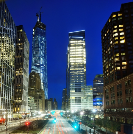 world trade center: Financial district cityscape of New York City Stock Photo
