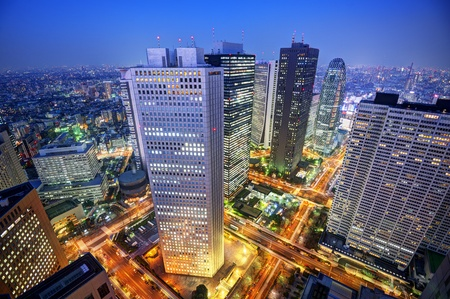 urban scenics: Financial buildings in the Shinjuku district of Tokyo, Japan.